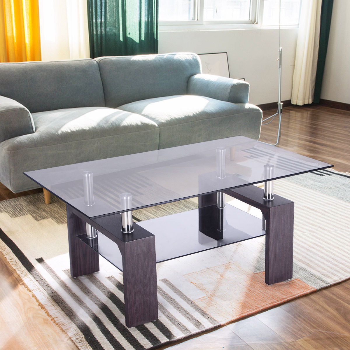 Costway Rectangular Glass Coffee Table Wood W/ Shelf Living Room Home  Furniture Part 26