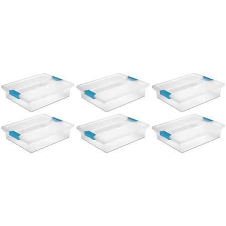- Sterilite Large File Clip Box Clear Storage Containers w/ Lid (6 Pack) 19638606
