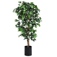 Gymax 6Ft Artificial Ficus Tree Fake Greenery Plant Home Office Decoration