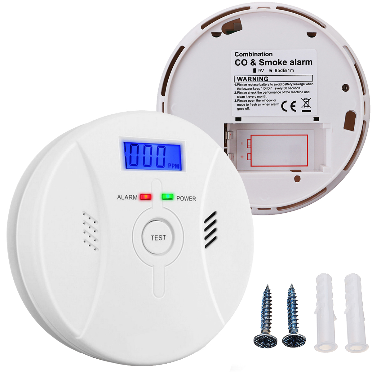Arzil Combination Smoke & Carbon Monoxide Alarm Battery Operated Wireless Fire Sensor  CO Detector Voice & Flash Alarm Electrochemical Sensor with CO Level Digital Display