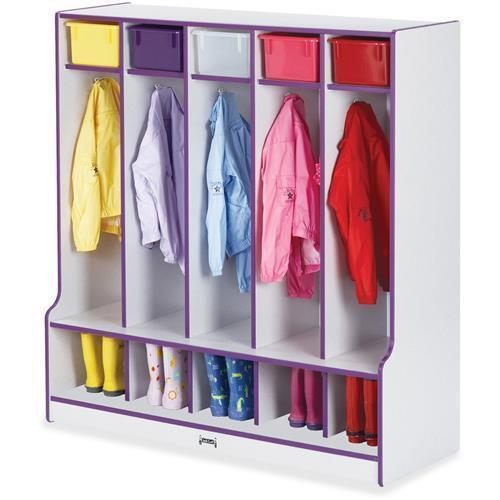 "0468JCWW004 Rainbow Accents Step 5 Section Locker - 50.5"" Height x 48"" Width x 17.5"" Depth - 5 Compartment(s) - Purple"