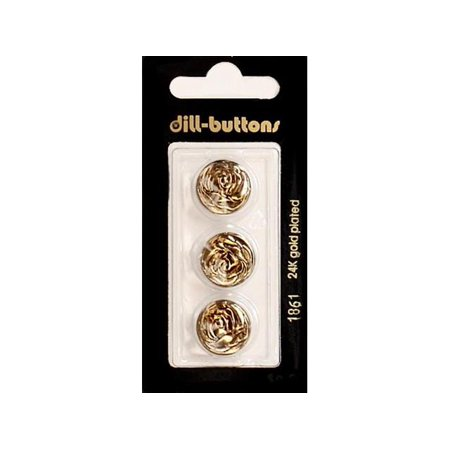- Dill Buttons 15mm 3pc Shank Metal Antique Gold