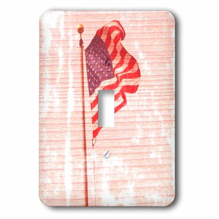 3dRose American Flag Wood Design Patriotic 4th of July Americana - Single Toggle Switch (lsp_29513_1)