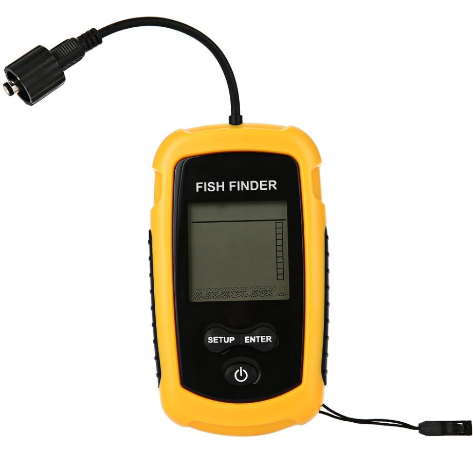 Portable Fish Finder Wired Fishing Sonar Alarm Ultrasonic Sonar Sensor Echo Sounder Transducer with LCD Display