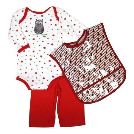 Owl Baby (Raindrops Unisex Baby Red Owl Long Sleeve Body Suit Pant Pocket)