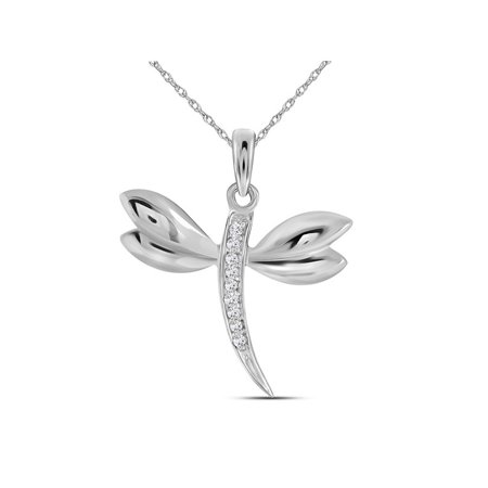 10k White Gold Diamond-accented Dragonfly Womens Winged Bug Insect Charm Pendant .03 Cttw - image 1 de 2