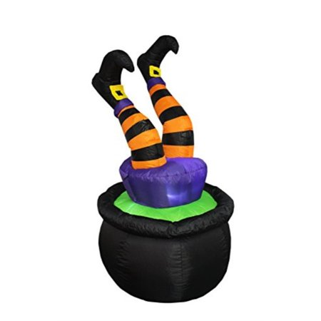 Bzb Goods 4 Foot Tall Halloween Inflatable Witch Legs In Pot Led Lights Decor Outdoor Indoor Holiday Decorations Blow Up Lighted Yard Decor Lawn