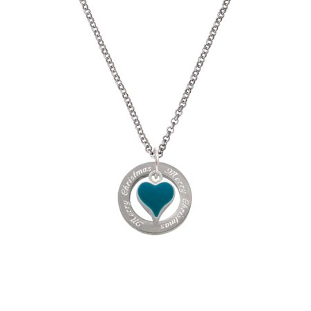 Silvertone Small Long Dark Teal Heart Merry Christmas Affirmation Ring Necklace