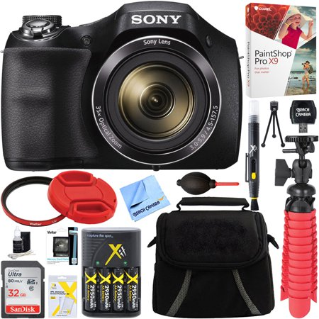 Sony Cyber-shot DSC-H300 Black Digital Camera + 32GB Memory Card, Battery & Accessory - Olympus Sony Cyber Shot