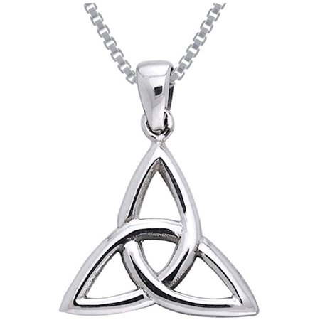 Sterling Silver Celtic Triquetra Trinity Knot Pendant on 18 Inch Box Chain Necklace Sterling Silver Celtic Triskele
