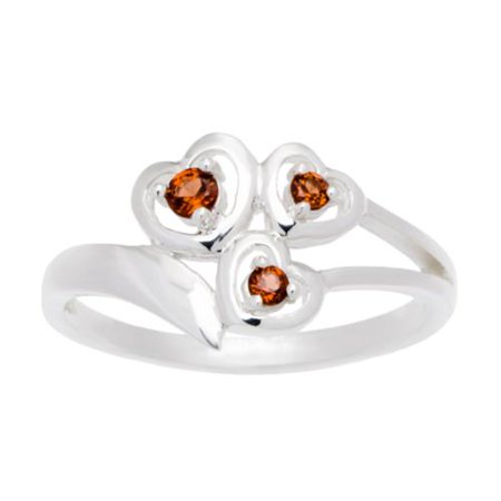 aa20cfd06a20d Sterling Silver 3-stone Heart-shaped Birthstone Ring Size 9, citrine ...