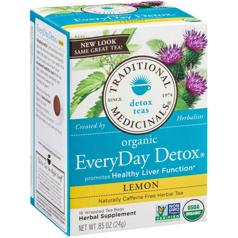 Traditional Medicinals Organic EveryDay Detox Lemon Herbal Supplement Tea, 16 count, .85 oz, (Pack of 3)