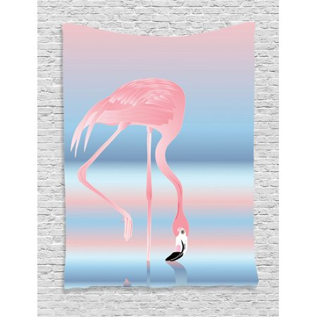 Flamingo Decor Wall Hanging Tapestry, Illustration Of Royal Flamingo In The Lake Soft Pale With Romantic Colors Art Work, Bedroom Living Room Dorm Accessories, By (Flamingos Color)