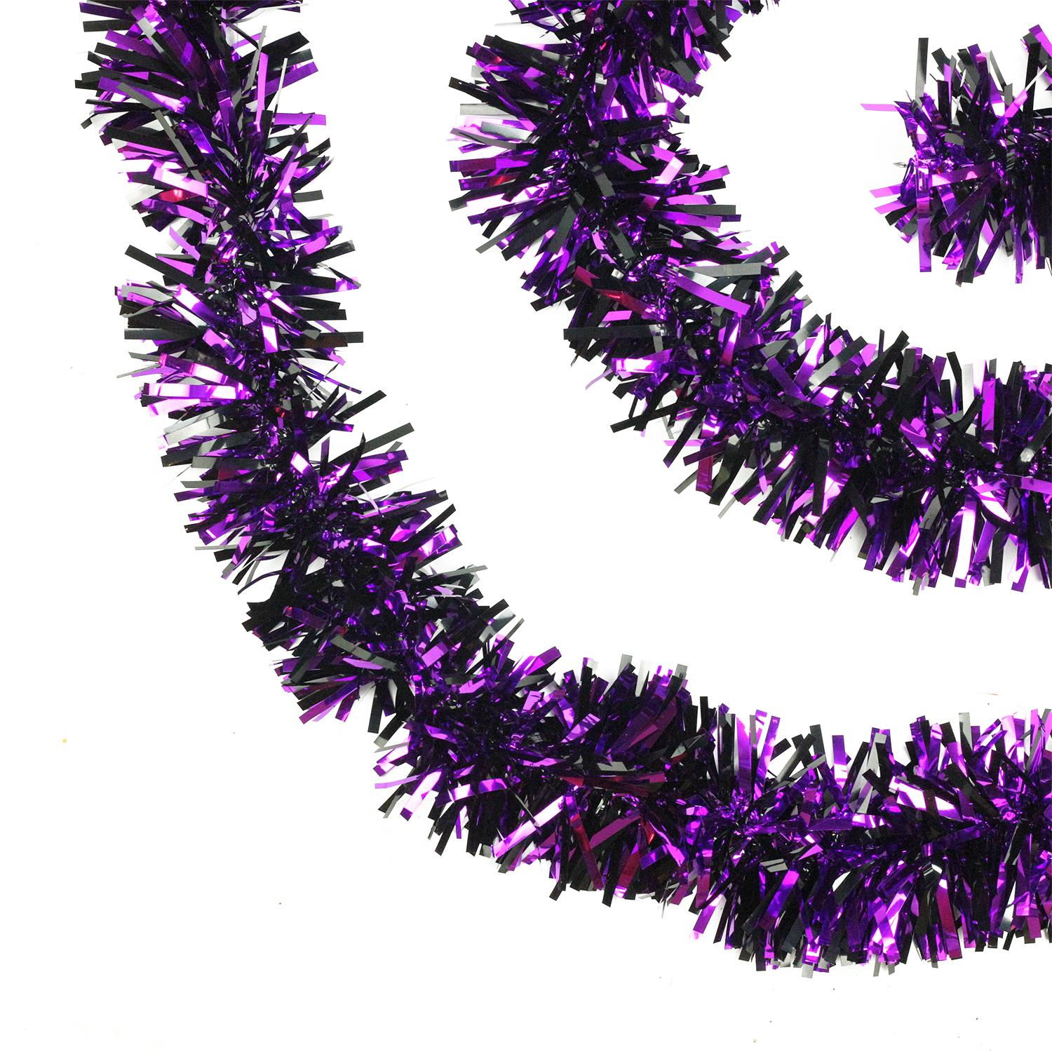 15' Black and Purple Wide Cut Tinsel Halloween Garland - Unlit