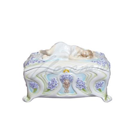 Unicorn Studios AP20120AA Slumbering Maiden on Porcelain Trinket Box Violet Motif - image 1 de 1