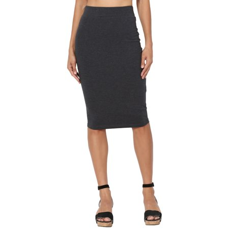 (TheMogan Women's Solid Stretch Cotton Elastic High Waist Knee Pencil Midi Skirt)
