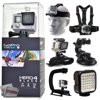 GoPro Hero 4 HERO4 Black CHDHX-401 with Headstrap + Chest Harness Mount + Wrist Glove Strap + Suction Cup + LED Light + Opteka X-Grip Action Stabilizer