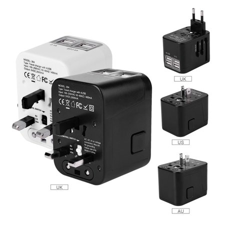 Dilwe Travel Adapter, Worldwide All in One Universal Travel Adaptor AC Power Plug Converter Wall Charger with 4 USB Charging Ports for for EU,UK,US,AU,Italy and other 150 Countries Country Bath Four Port