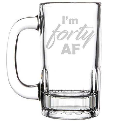 12oz Beer Mug Stein Glass 40th Birthday I'm Forty AF by