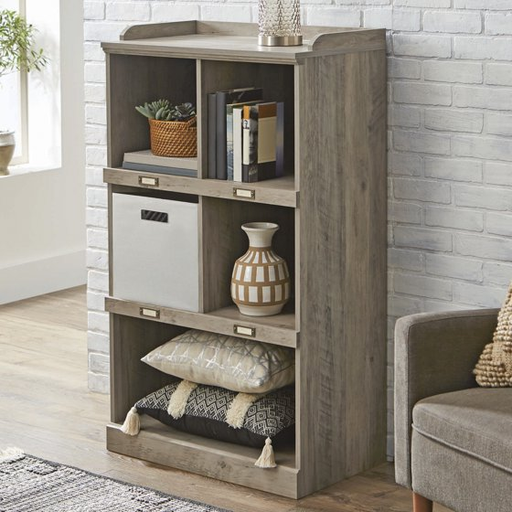 Better Homes And Gardens Modern Farmhouse 5 Cube Organizer With Name Plates Rustic Gray Finish