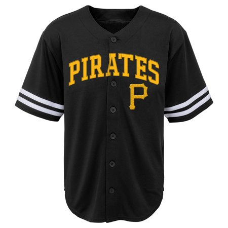 State Baseball Jersey - MLB Pittsburgh PIRATES TEE Short Sleeve Boys Fashion Jersey Tee 60% Cotton 40% Polyester BLACK Team Tee 4-18