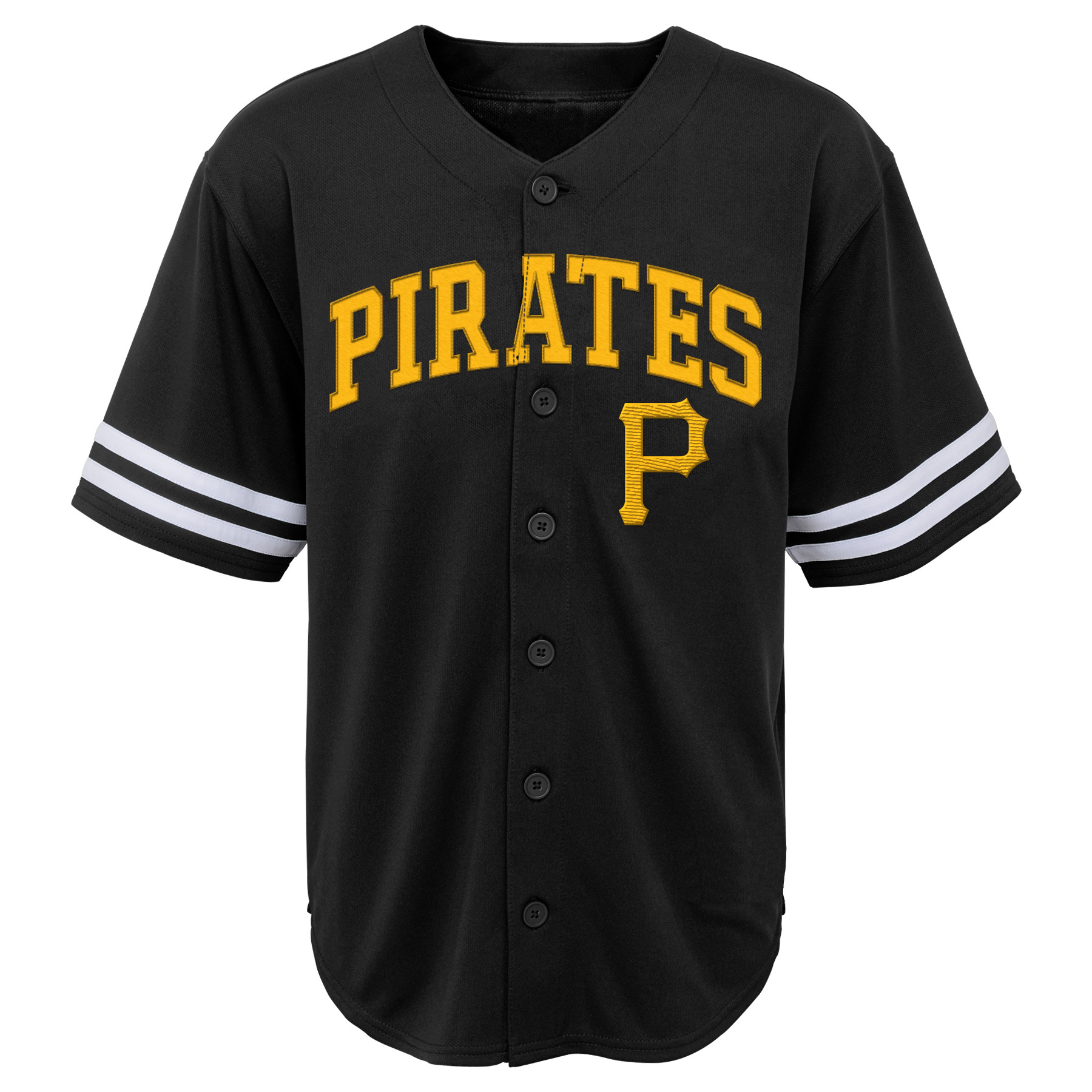 MLB Pittsburgh PIRATES TEE Short Sleeve Boys Fashion Jersey Tee 60% Cotton 40% Polyester BLACK Team Tee 4-18