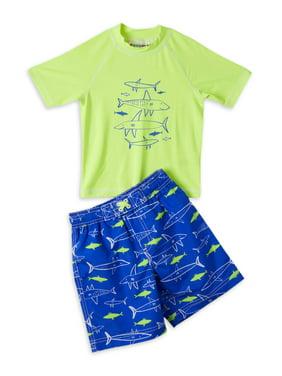 Wippette Baby Toddler Boy Shark Rashguard & Printed Swim Trunks, 2pc Set
