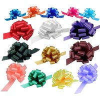 Assorted Gift Pull Bows for Easter, Christmas, Birthdays - Various Sizes, Set of 15, Red, Blue, White, Green