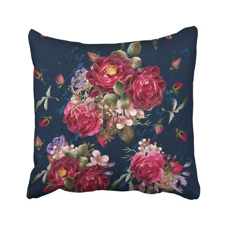 ARTJIA Pink Beauty Beautiful Pattern In Vintage On Deep Blue With Red Rose Flowers Floral Pillowcase Throw Pillow Cover Case 18x18 inches