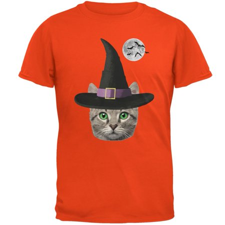 Halloween Funny Cat Witch Orange Adult T-Shirt](Funny Halloween Cats)
