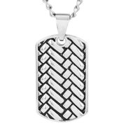 Stainless Steel Woven Design Dog Tag Pendant