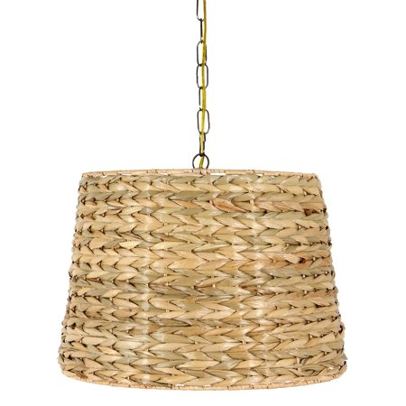 UpgradeLights Woven Seagrass 16 Inch Drum Portable Swag Lamp - Seagrass Lamp Shades