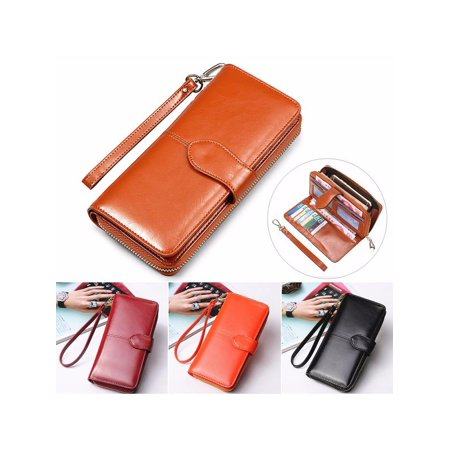 (New PU Leather Wallets For Women Long Card Holder Zipper Clutch Phone Purse)