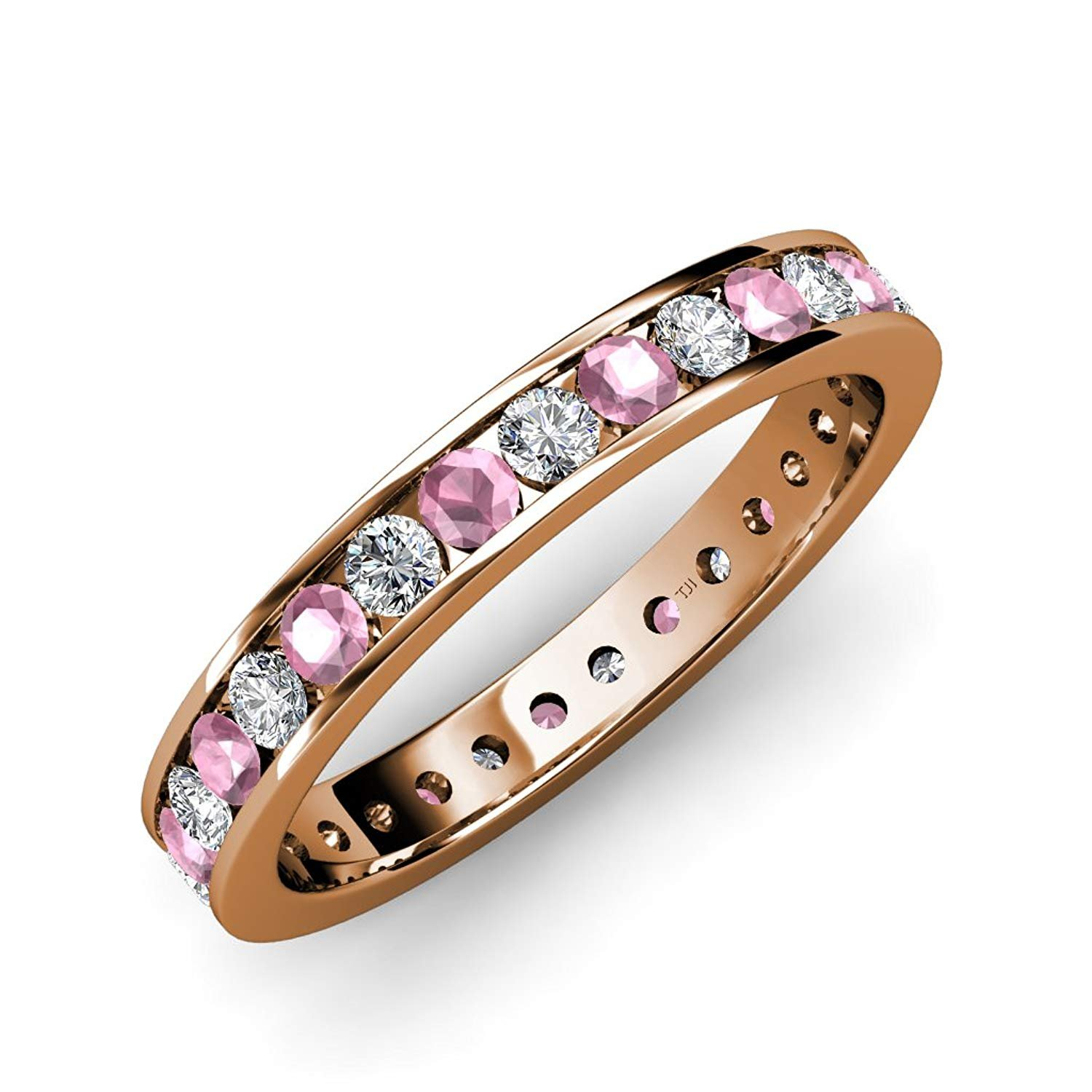 Pink Tourmaline and Diamond Channel Set Eternity Band 1.21ct tw to 1.42ct tw in 14K Yellow Gold.size 7.0 by TriJewels