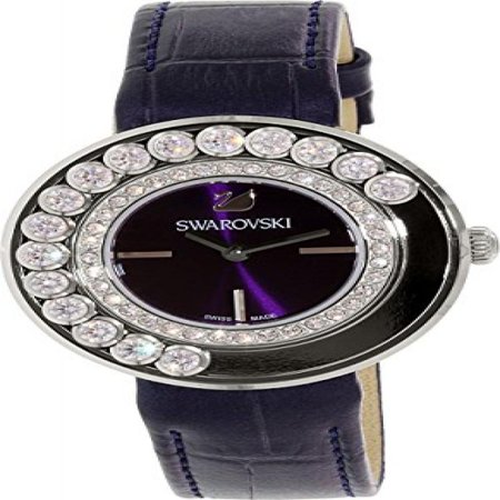 Women's Lovely Crystals 5027205 Black Leather Swiss Quartz Watch