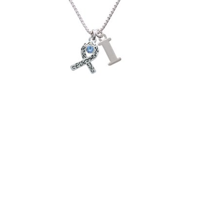 Silvertone Scroll Ribbon With Light Blue Crystal Capital Initial I Necklace