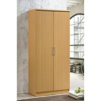 Hodedah Imports 2 Door Wardrobe with Shelves
