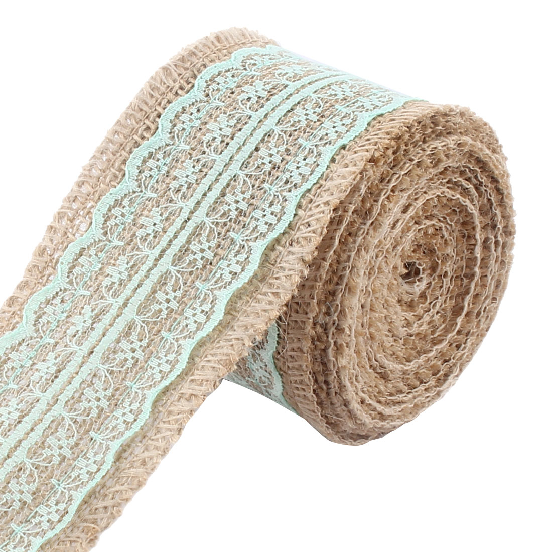 Unique Bargains Christmas Burlap DIY Gift Wrapping Packing Craft Ribbon Roll Pale Green