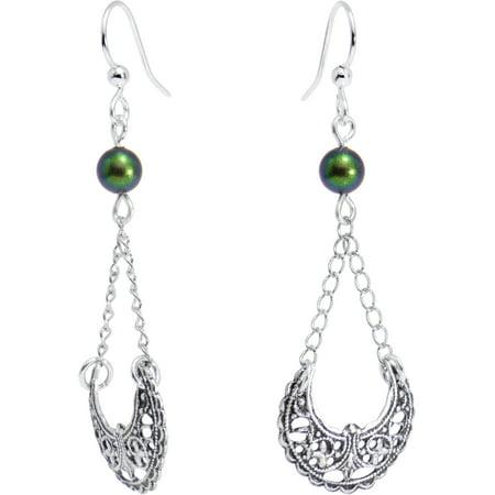 Swarovski Crystal Silver Plated Earrings - Handcrafted Silver Plated Over the Moon Earrings Created with Swarovski Crystals