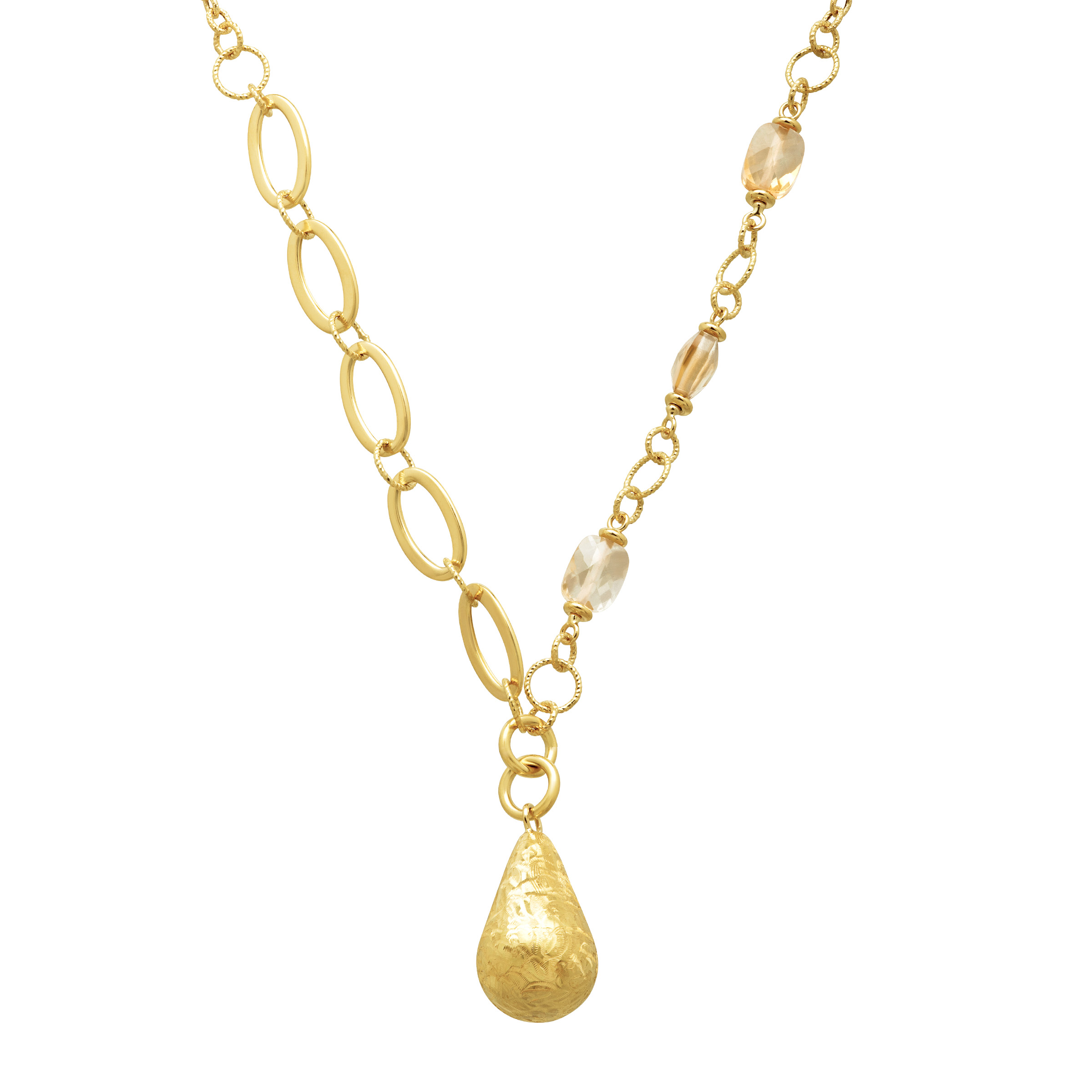 Natural Citrine Drop Link Necklace in 18kt Gold by Richline Group