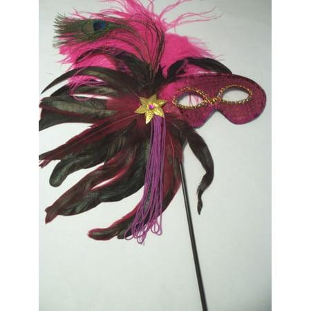 Hot Pink Fushia Feather Masquerade Ball Decor Mardi Gras Party Stick Mask (Masquerade Ball Masks For Sale)
