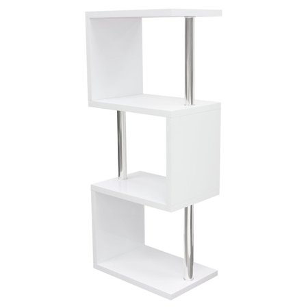 Diamond Sofa X3 Small Shelving Unit In White Lacquer With Metal Supports