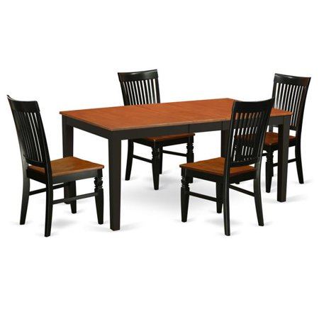 East West Furniture NIWE5-BCH-W Kitchen Table Set with a Kitchen Table & 4  Wood Seat Dining Chairs, 5 piece - Black & Cherry