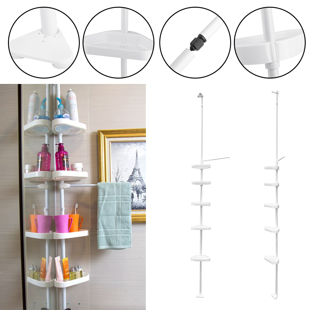 5 Layer Space Saving Shower Corner Shelf Bathroom Storage Rack Shelf Organizer