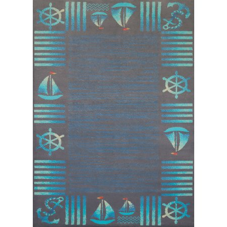 Designer Home Local Textures Area Rugs - 541-51760 Contemporary Blue Anchors Sails Boats Stripes Rug