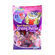 Frankford (1) 28pc Bag Spongebob Squarepants Heart Shaped Gummy Krabby Patties - Original, Grape & Cherry Flavored - Valentines Day Candy w/To:/From: Stickers 8.88 oz