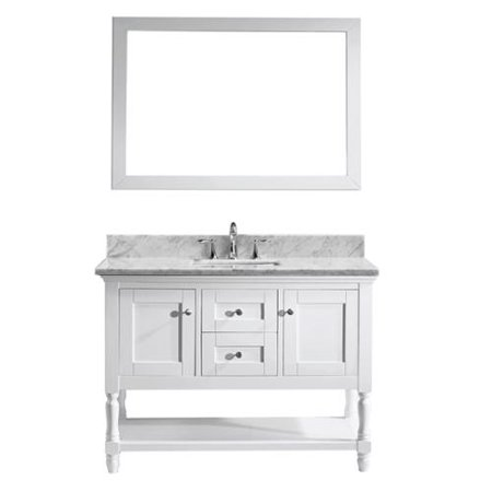 Virtu USA Julianna 48-inch Single Bathroom Vanity Cabinet Set in White 48-in. Round Bathroom Vanity in White