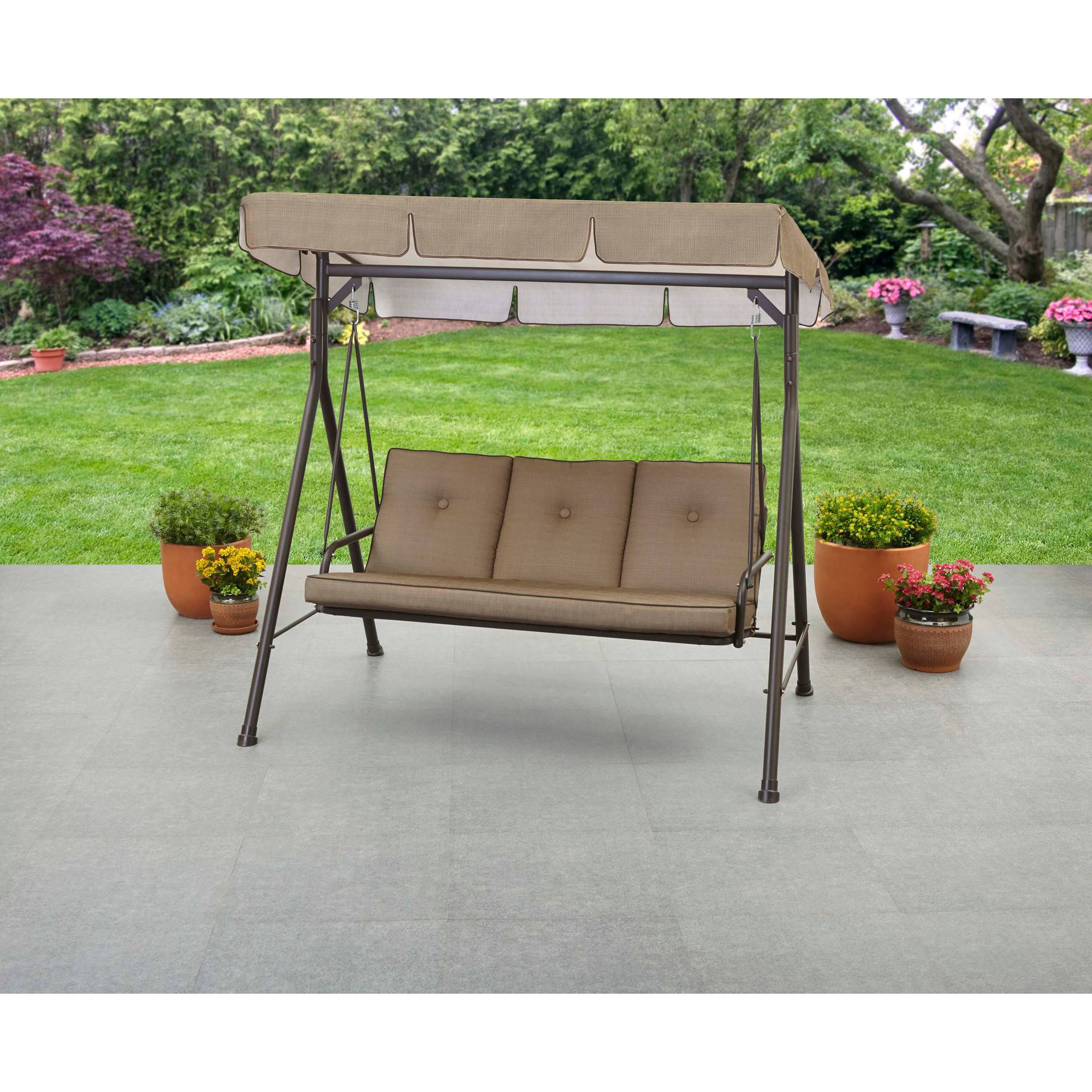 Mainstays Maddison 3Seat Cushion Swing Brown Walmartcom