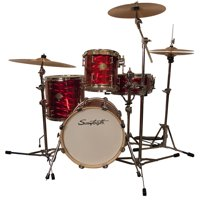 """Sawtooth Command Series 4-Piece Drum Shell Pack with 16"""" Bass Drum, Red Mirror Metallic"""