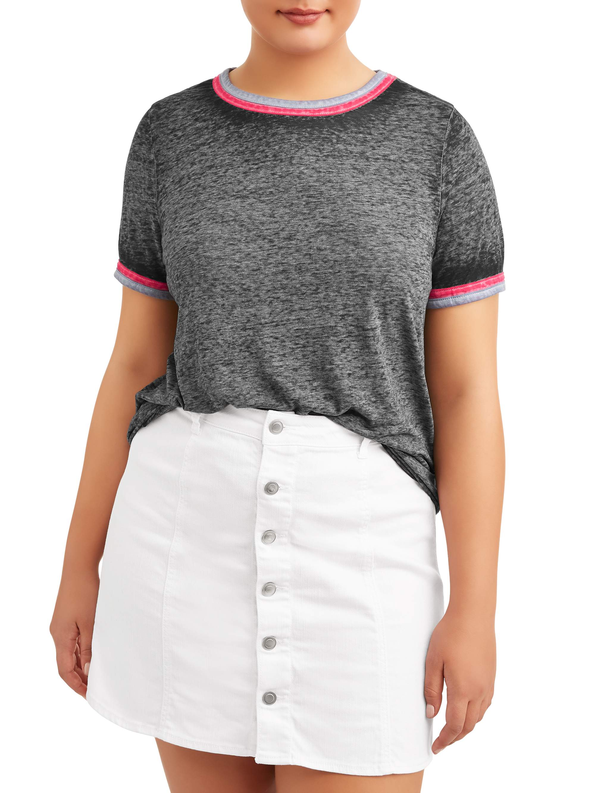 Juniors' Plus Size Burnout Tee